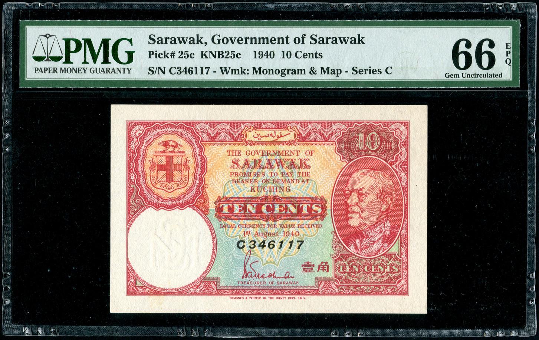 Sarawak, 10 Cents, 1940, PMG 66EPQ