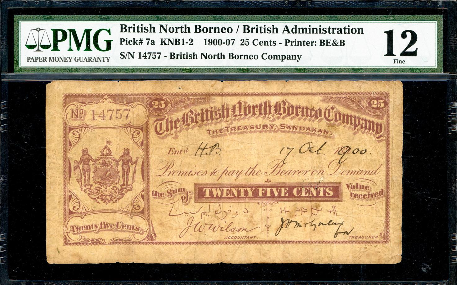 British North Borneo, 25 Cents, 1900, PMG 12