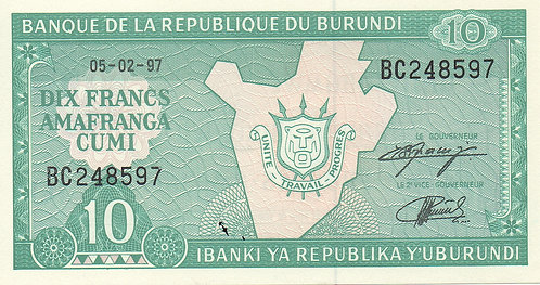 Burundi, 1981-2005, 10 Francs