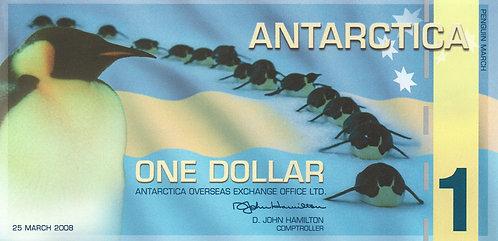 Antartica, 2008, 1 Dollar, Souvenir Banknotes, Polymer