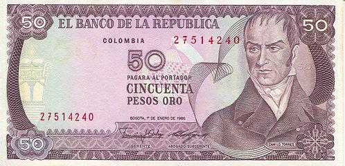 Colombia, 1986, 50 Pesos Oro