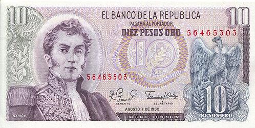 Colombia, 1980, 10 Pesos Oro