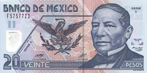 Mexico, 2001, 20 Pesos, (2 Bars) Sign 3, Serie C, Polymer