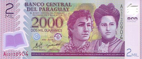 Paraguay, 2008, 2000 Guaranies, Polymer