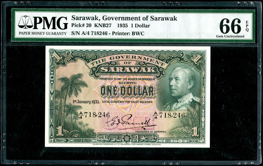 Sarawak, $1, 1935, PMG 66EPQ