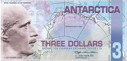 Antartica, 2008, 3 Dollars, Souvenir Banknotes, Polymer