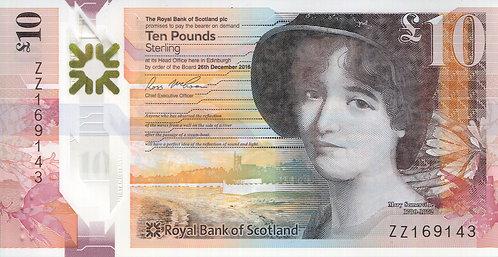 The Royal Bank of Scotland, 2017, 10 Pounds, Polymer, (Prefix ZZ Replacement)