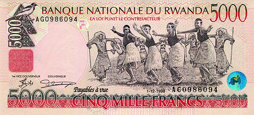 Rwanda, 1998, 5000 Francs