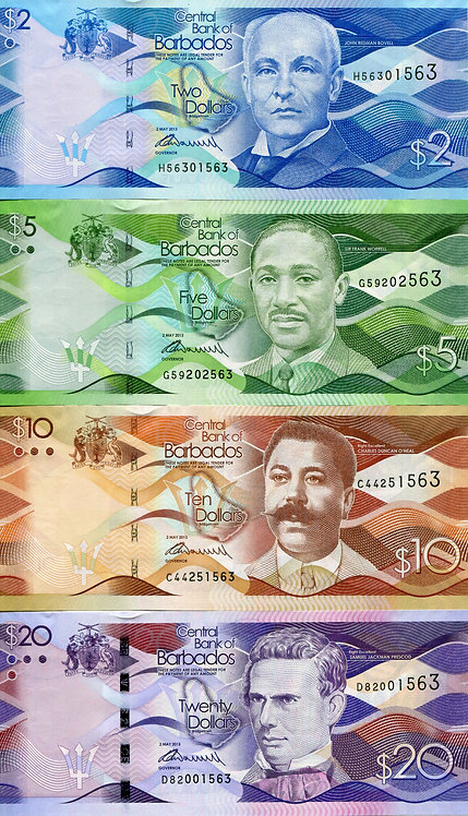 Barbados, 2013, 2-100 Dollars, Set (6pcs)