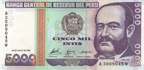 Peru, 1988, 5000 Intis