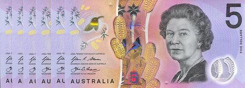 Australia, 2016, 5 Dollars, Polymer, Set (6pcs match number)