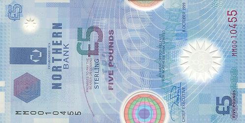 Northern Ireland, 5 Pounds, Prefix MM, Polymer