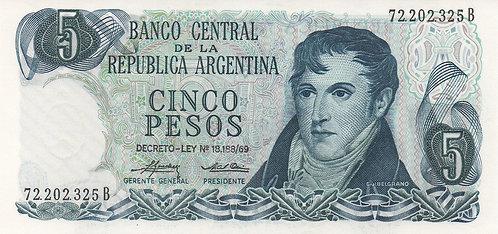 Argentina, 1974-1976, 5 Pesos