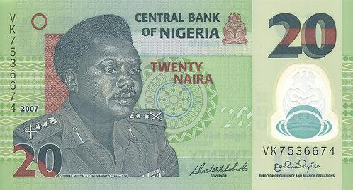 Nigeria, 2007, 20 Naira, Polymer