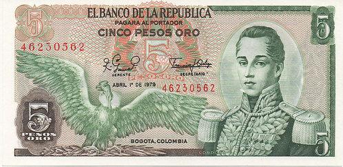 Colombia, 1979, 5 Pesos Oro