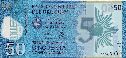 Uruguay 2018, 50 Pesos Uruguayos, Commemorative BCU's 50th Anniversarry, Polymer