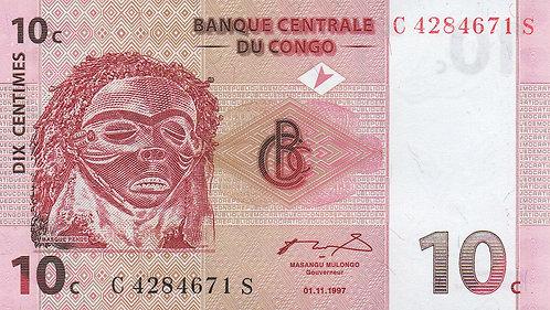 Congo, 1997, 10 Centimes