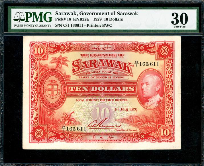 Sarawak, $10, 1929 (KNB22a;P-16) S/no. C/1 166,611, PMG 30