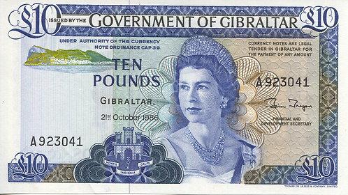 Gibraltar, 1986, 10 Pounds, (AU)