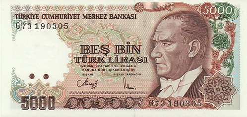 Turkey, 1970, 5000 Lira