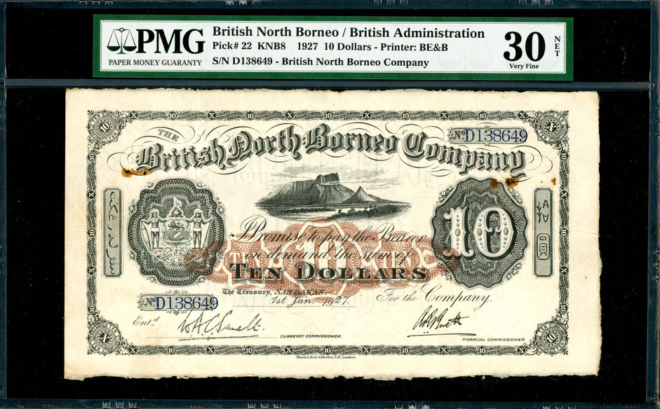 British North Borneo, $10, 1927, PMG 30NET, rust damage