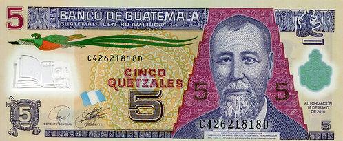 Guatemala, 2010, 5 Quetzale, Polymer