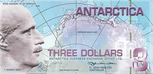 Antartica, 2007, 3 Dollars, Souvenir Banknotes, Polymer
