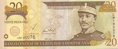 Dominican Republic, 2001, 20 Pesos Oro