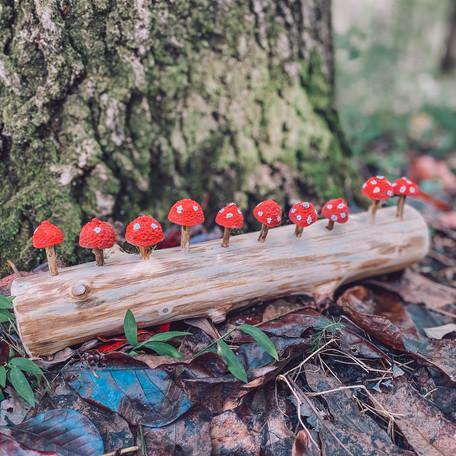 DIY Mushroom Counting Log- ¡A contar las setas!