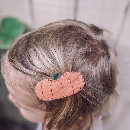 ~Horquilla de Calabaza~ Pumpkin Felt Hair clip