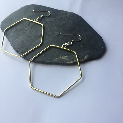 Big brass Hexagon earrings