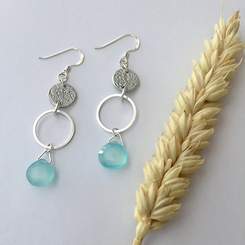 Aqua Blue Chalcedony drop earrings