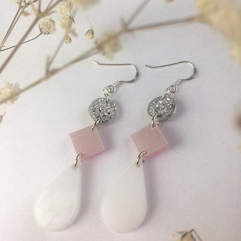 White tear drop earrings