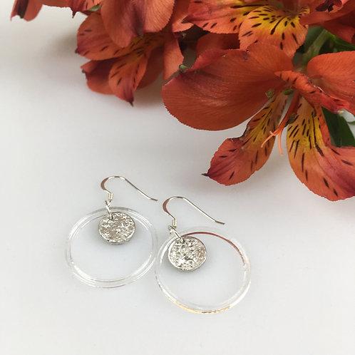 Tiny moon & acrylic circle earrings
