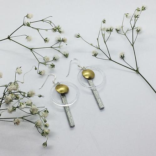 Geo earrings with brass