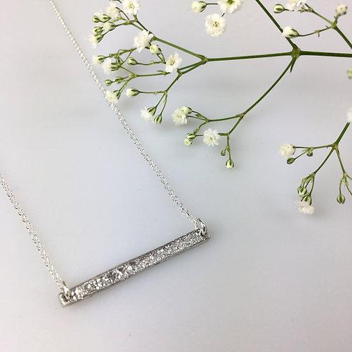 Horizontal pewter bar necklace
