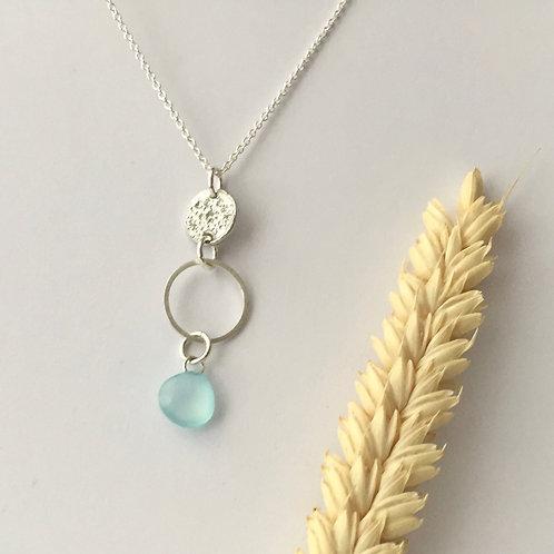 Aqua Blue Chalcedony drop necklace