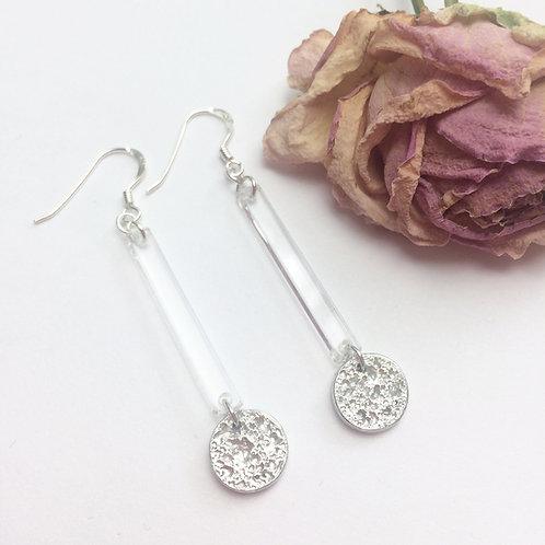 Acrylic bar and tinymoon earrings