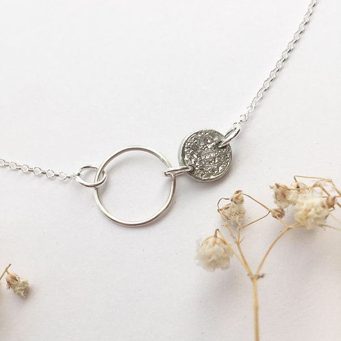 Tinymoon & silver hoop necklace