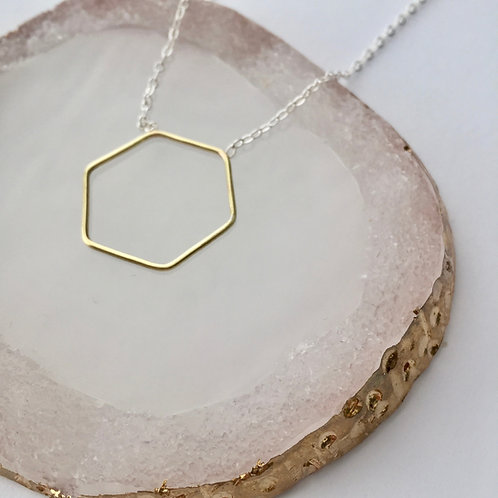 Brass hexy necklace