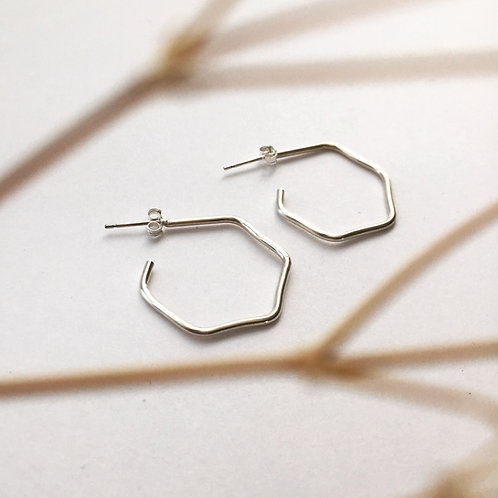 Chunky silver hexyhoops