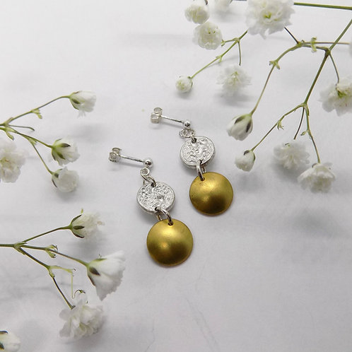 Tinymoon & brass earrings