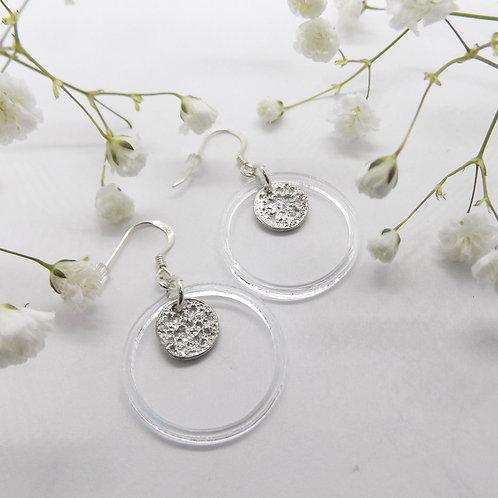 Tinymoon & acrylic ring earrings