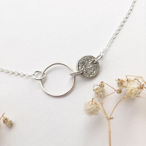Silver hoop and Tinymoon necklaces