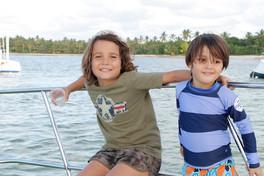 kids in the boat