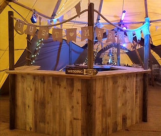3 piece corner bar wedding party tipi ma
