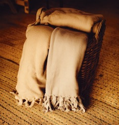 blanket basket with blankets