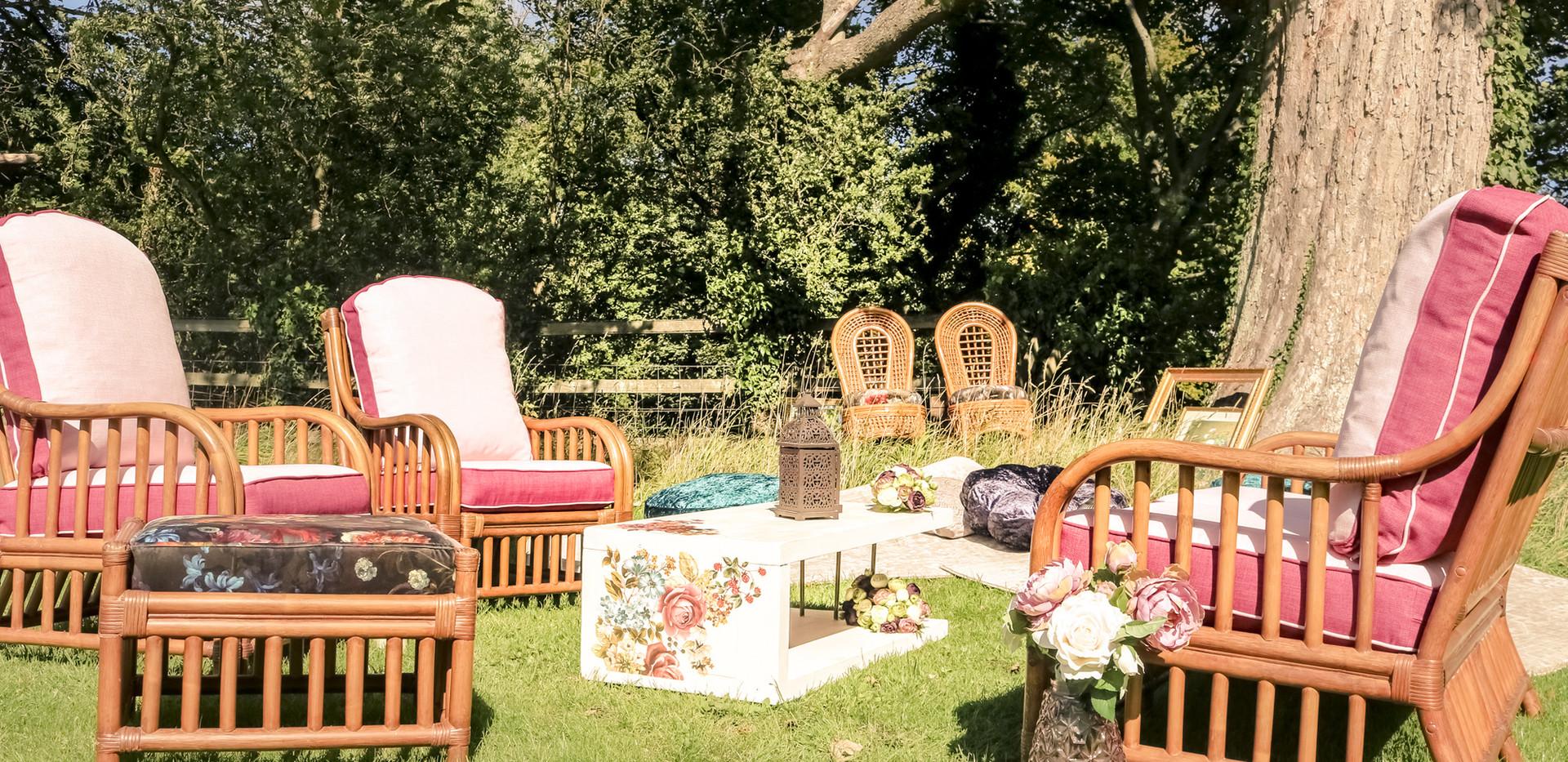 wicker boho wedding