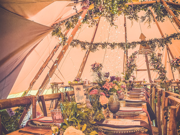 Tipi wedding top table
