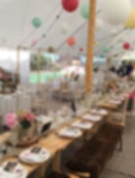 vintage marquee interior wedding party.j
